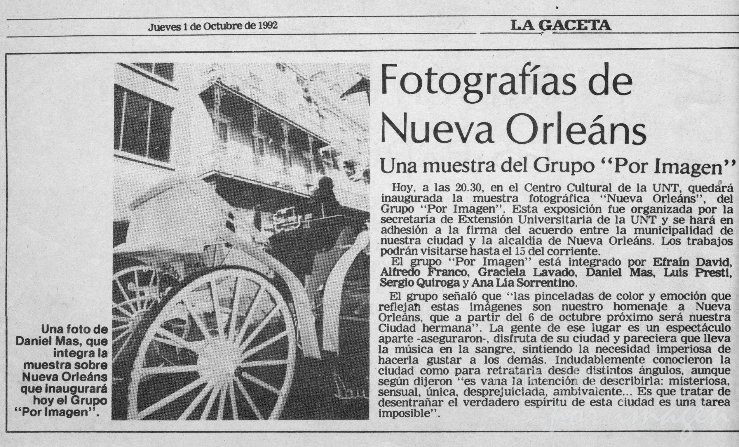 «New Orleans & Grupo por Imagen»